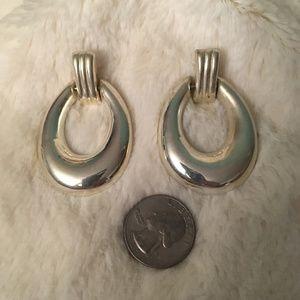 Vintage Silver 80s Door Knocker Pierced Earrings